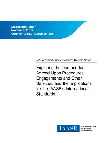 agreed upon procedures engagement letter discussion paper exploring the demand for agreed upon 20419 | agreed upon procedures working group discussion paper nov 2016