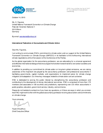 letter about climate change ifac and climate letter of support to the un 7306