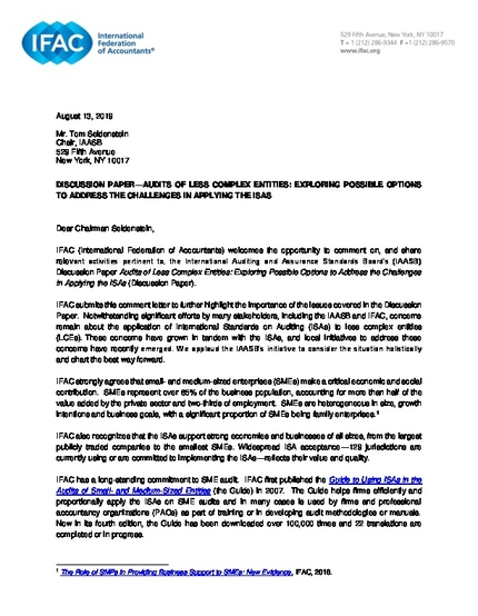 IFAC Comment Letter On The IAASBs Audits Of Less Complex