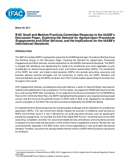 agreed upon procedures engagement letter ifac smp committee response to the iaasb s discussion 20419 | ifac smpc comment letter iaasb aup discussion paper