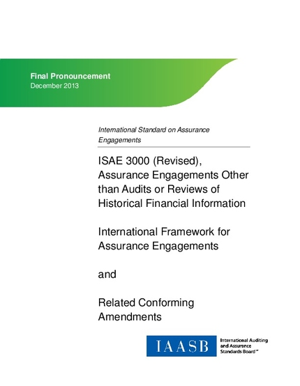 international standard on assurance engagements isae 3000 revised assurance engagements other than audits or reviews of historical financial information