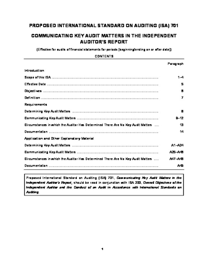 Reporting on Audited Financial Statements: Proposed New and